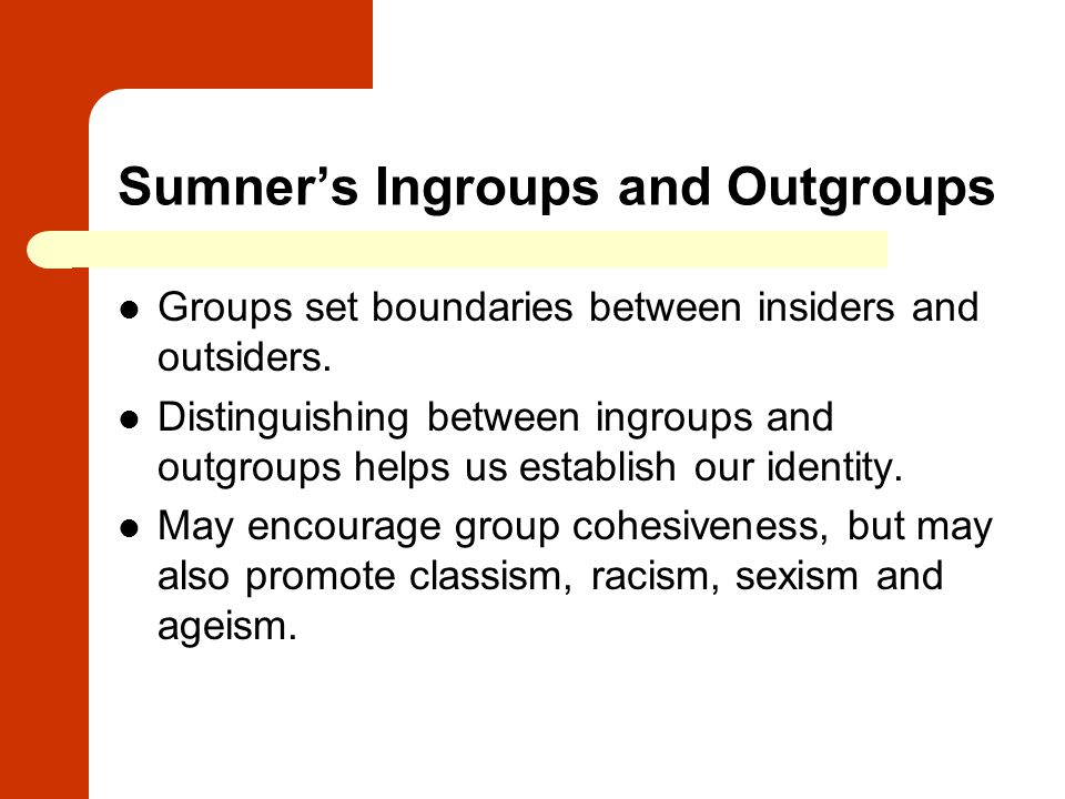 Sumner's Ingroups and Outgroups