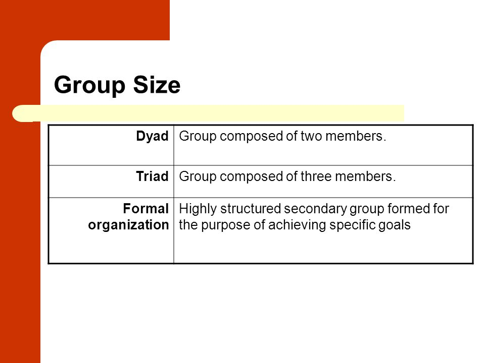 Group Size Dyad Group composed of two members. Triad