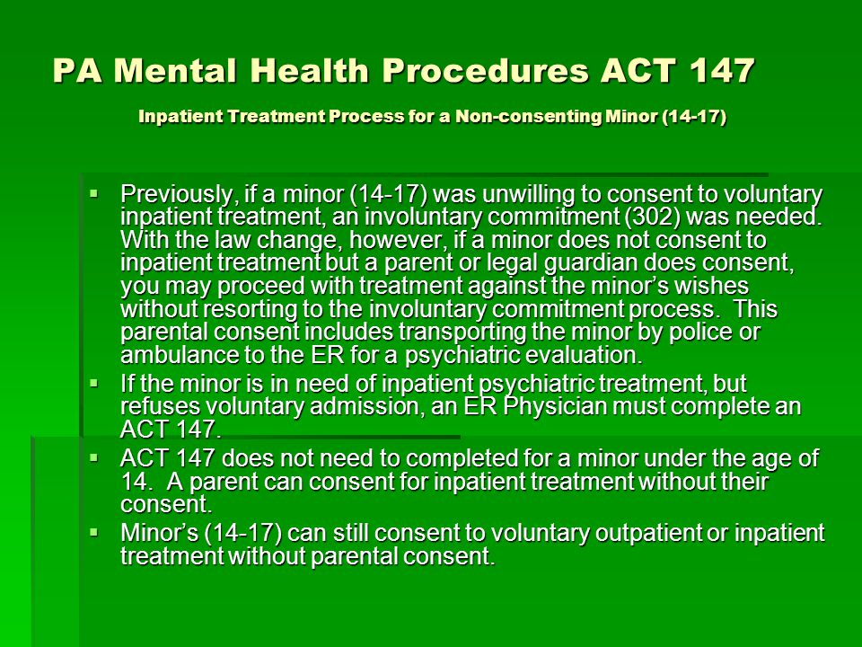 PA Mental Health Procedures ACT 147