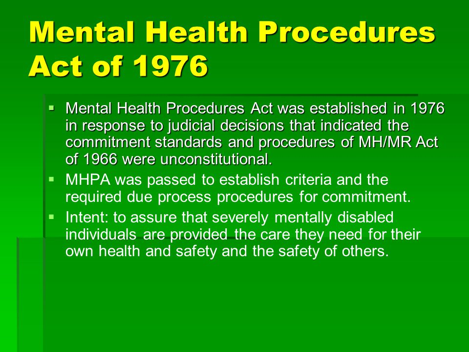 Mental Health Procedures Act of 1976