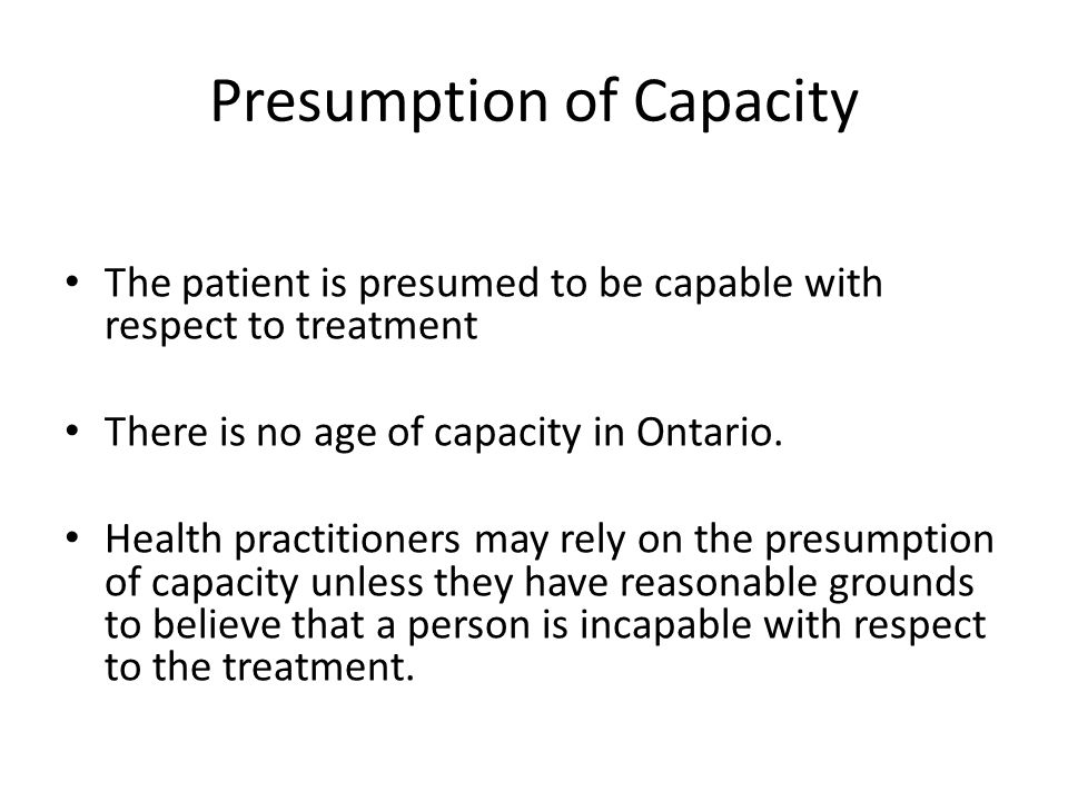 Presumption of Capacity