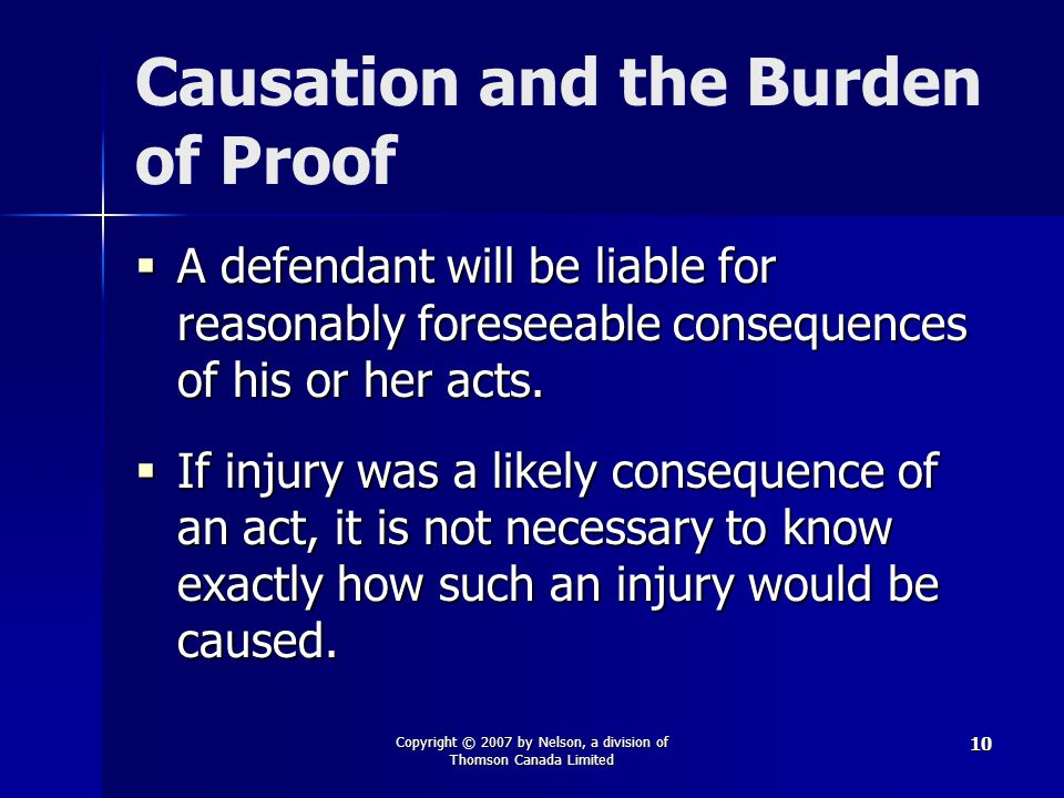Causation and the Burden of Proof