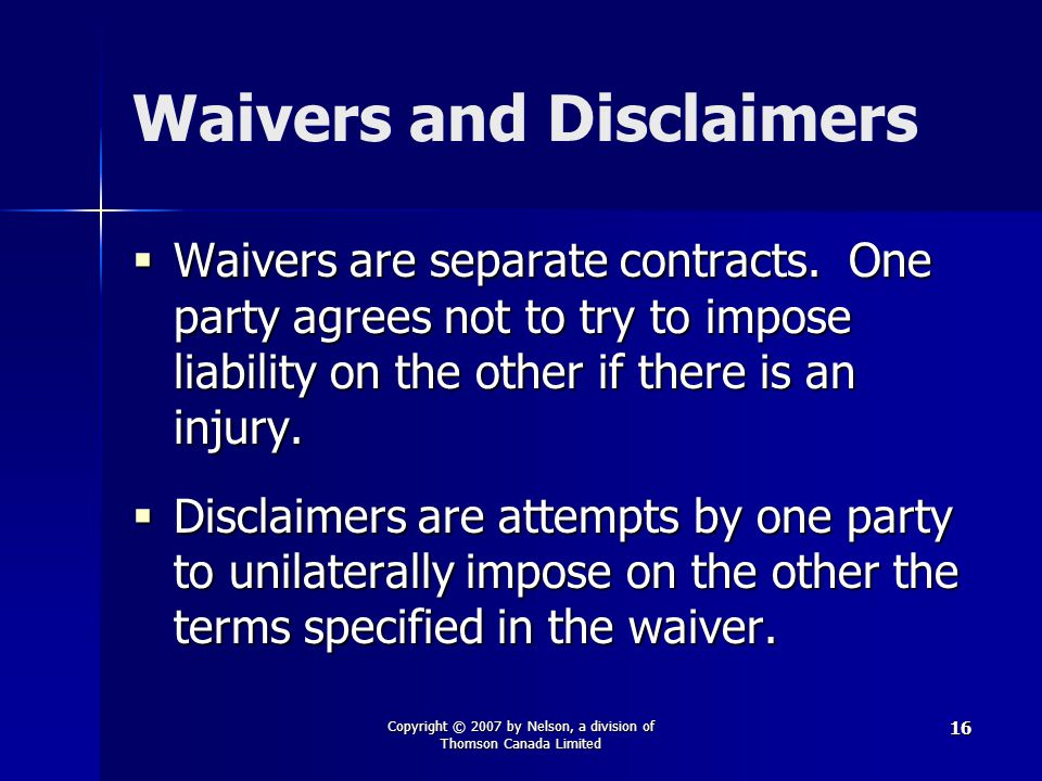Waivers and Disclaimers