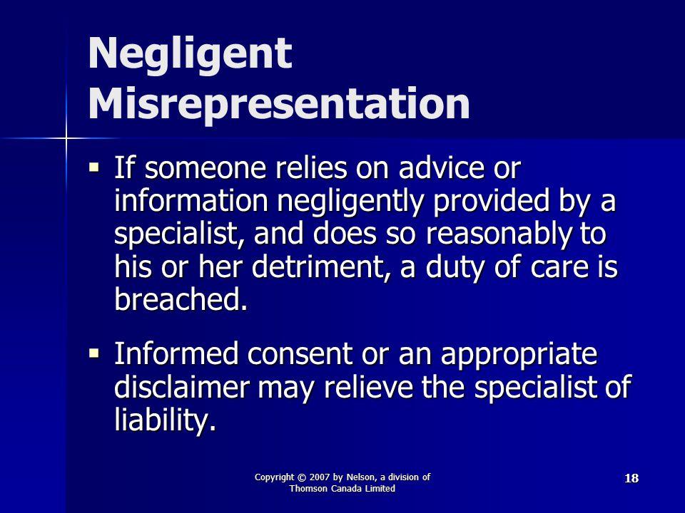 Negligent Misrepresentation