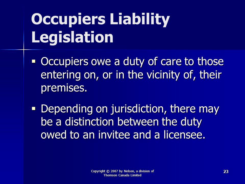 Occupiers Liability Legislation