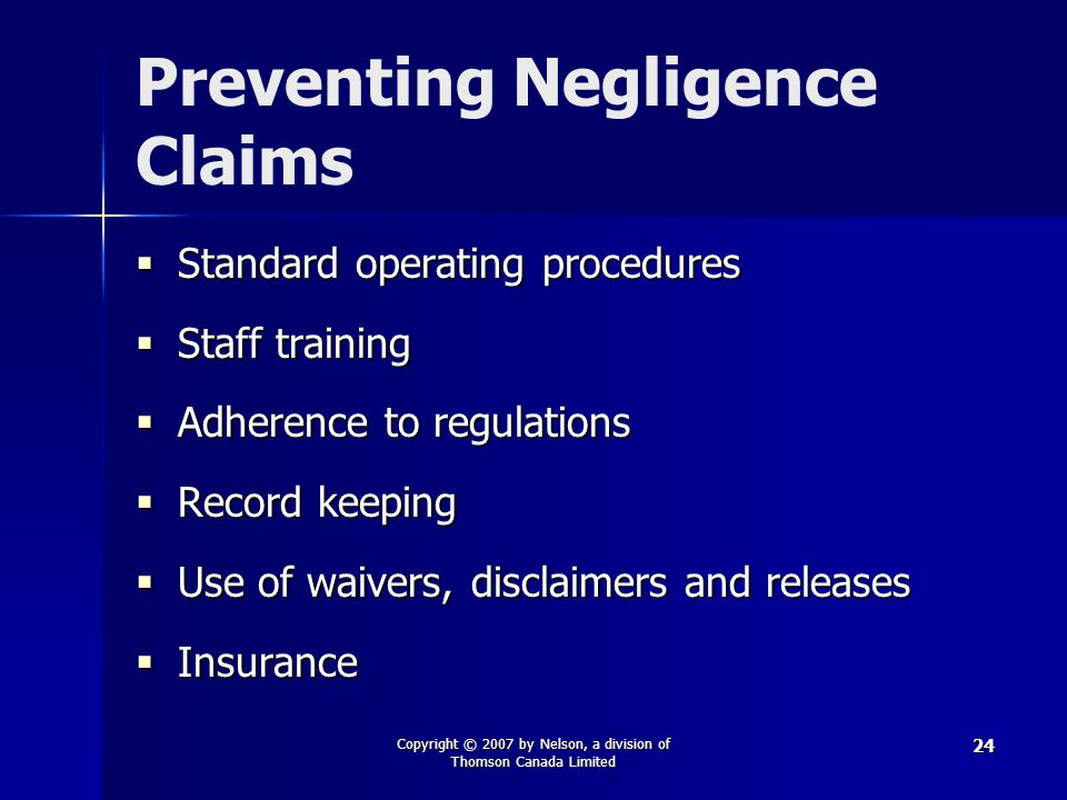 Preventing Negligence Claims