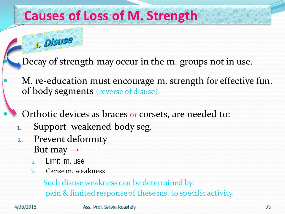 Causes of Loss of M. Strength