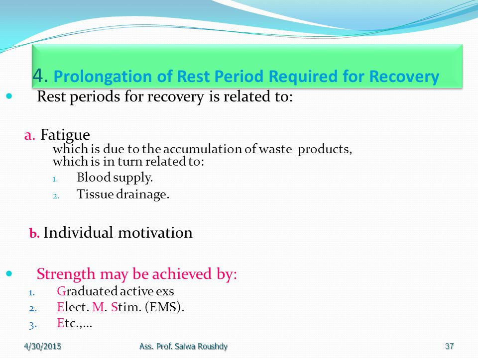 4. Prolongation of Rest Period Required for Recovery