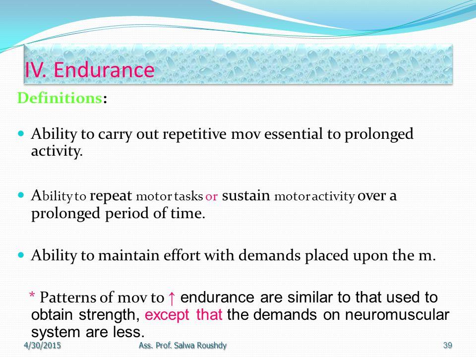 IV. Endurance Definitions: