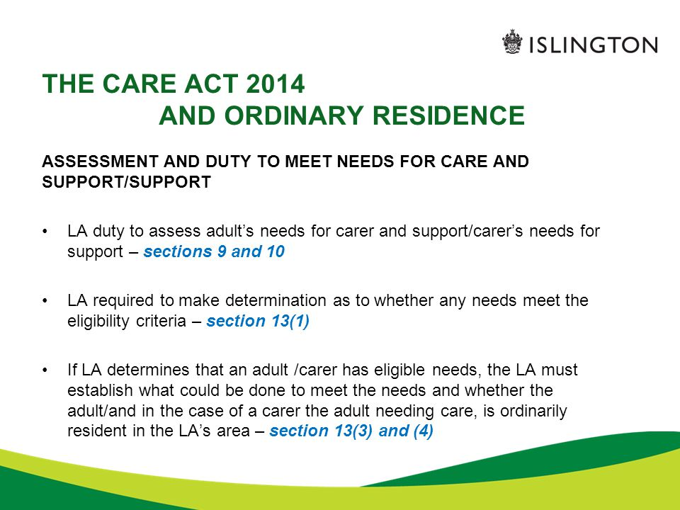 THE CARE ACT 2014 AND ORDINARY RESIDENCE