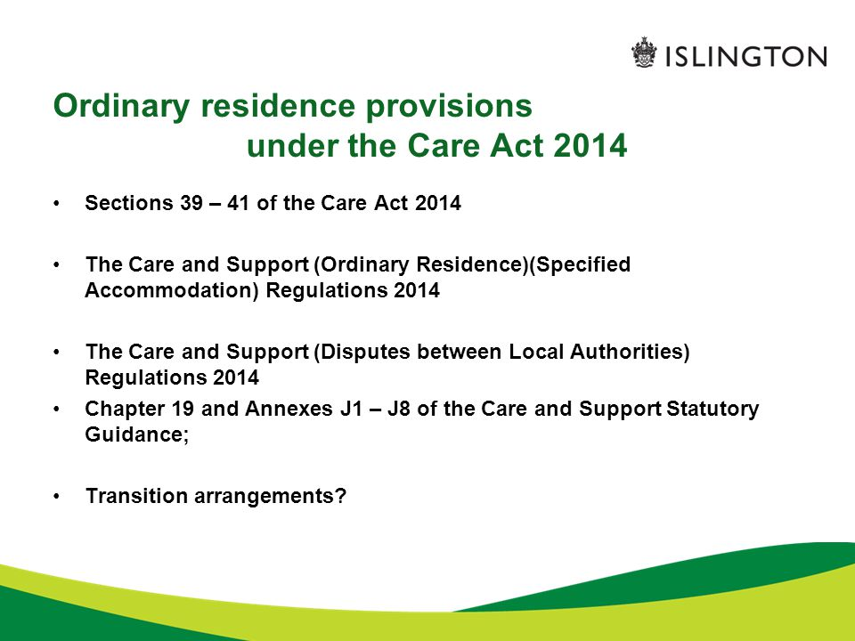 Ordinary residence provisions under the Care Act 2014