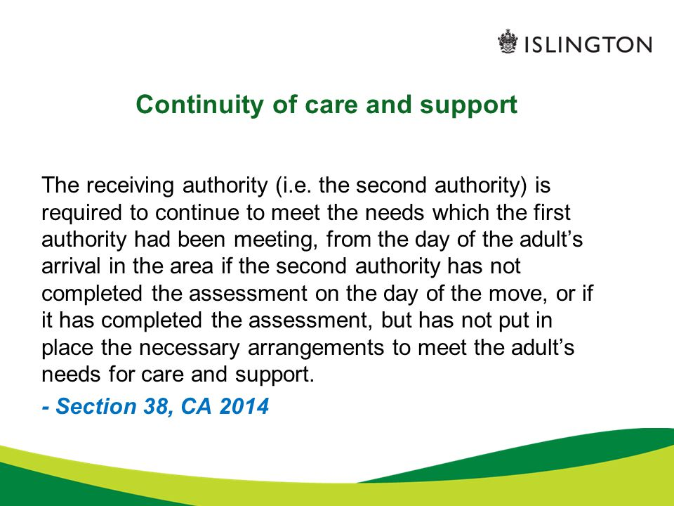 Continuity of care and support