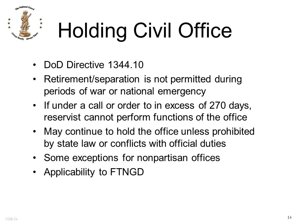 Holding Civil Office DoD Directive 1344.10
