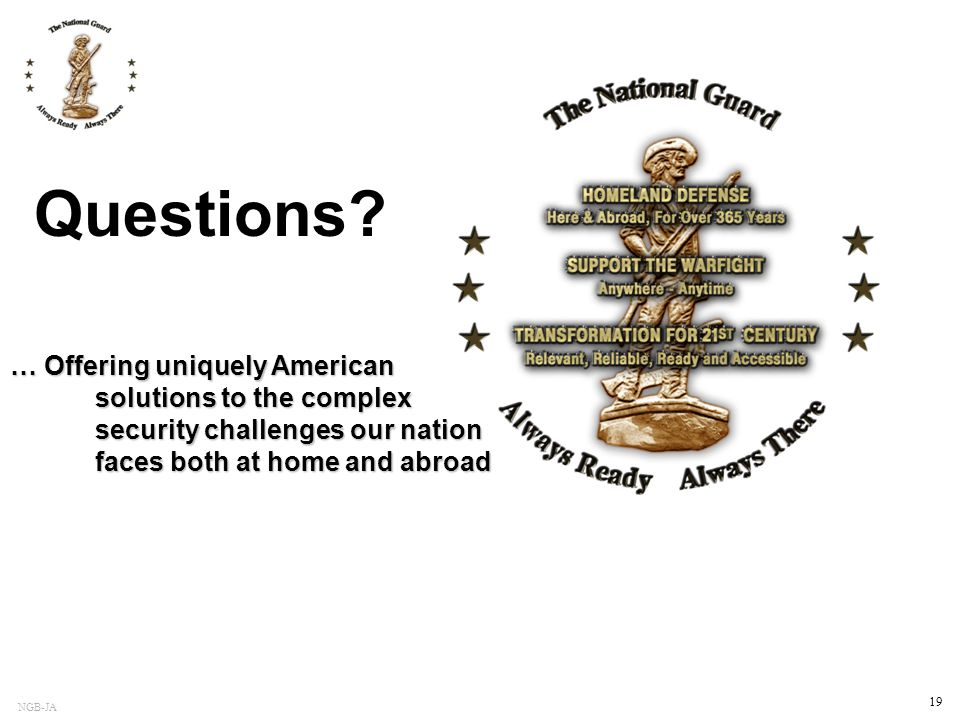 Questions … Offering uniquely American solutions to the complex security challenges our nation faces both at home and abroad.