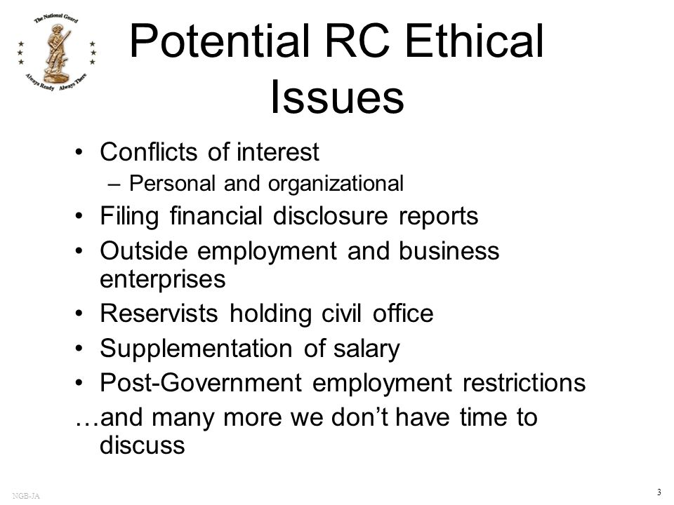 Potential RC Ethical Issues
