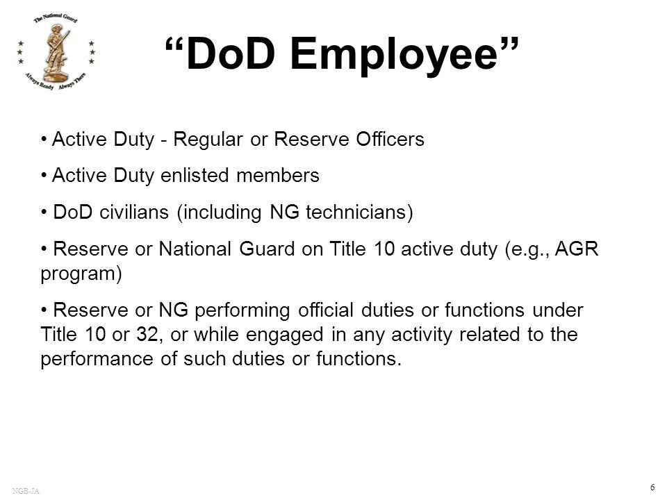 DoD Employee Active Duty - Regular or Reserve Officers