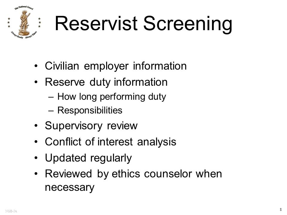Reservist Screening Civilian employer information