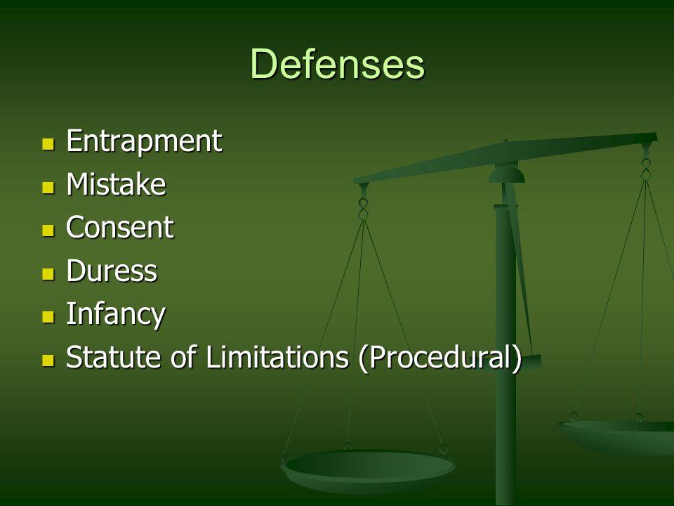 Defenses Entrapment Mistake Consent Duress Infancy