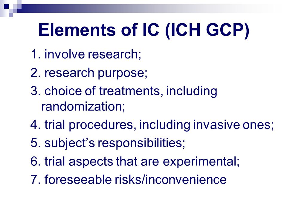 Elements of IC (ICH GCP)