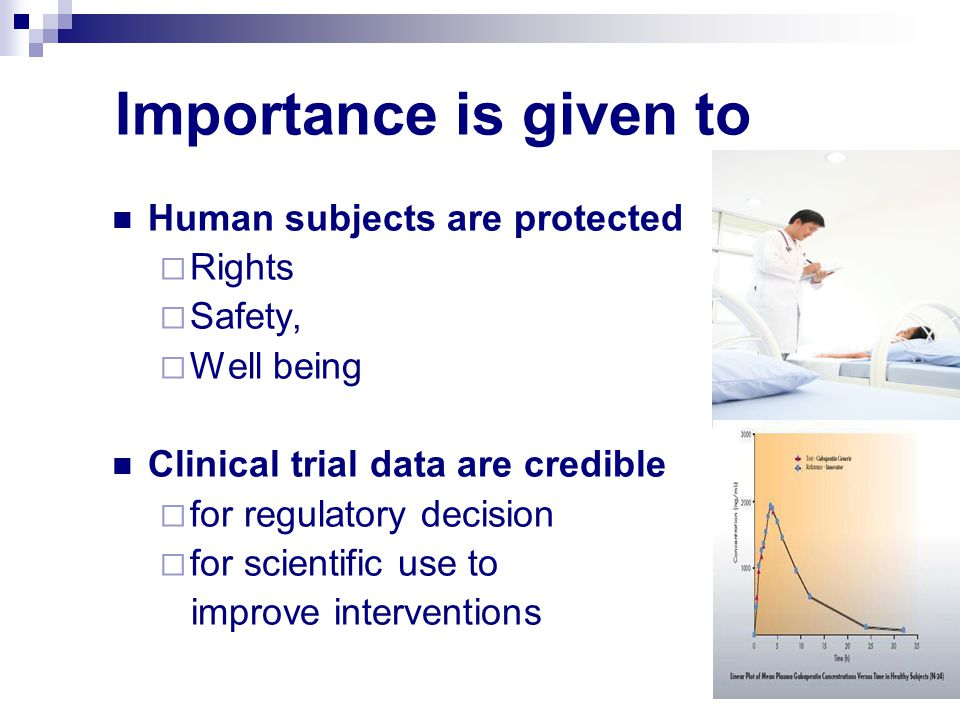 Importance is given to Human subjects are protected Rights Safety,