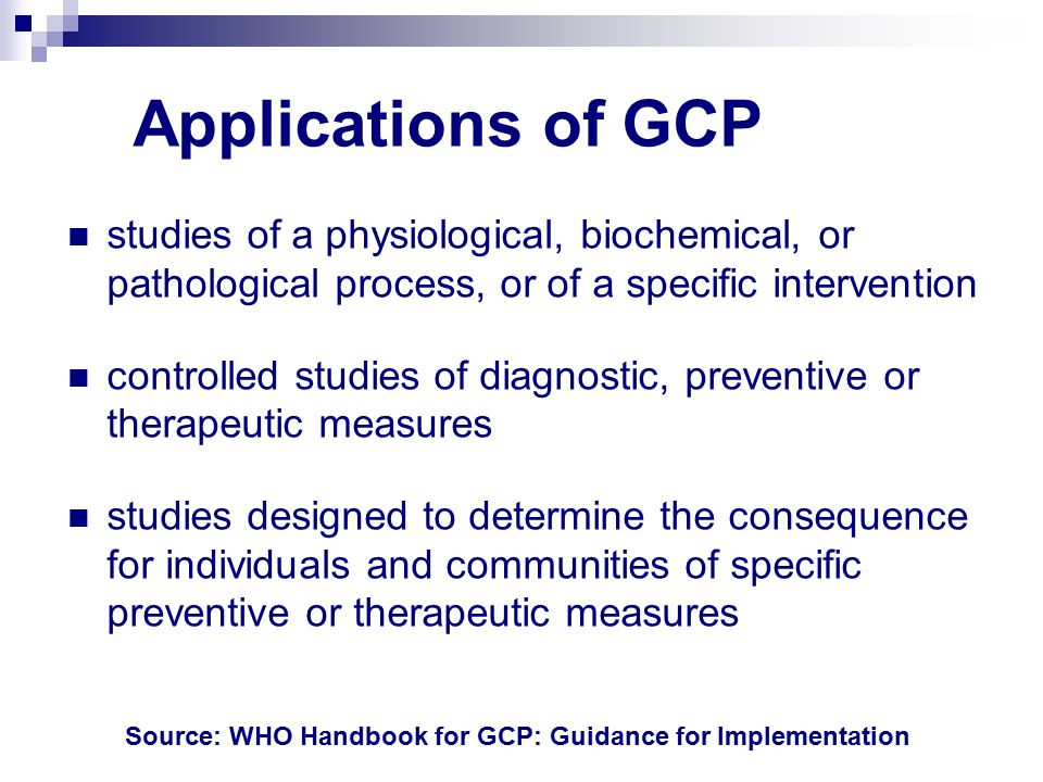 Applications of GCP studies of a physiological, biochemical, or pathological process, or of a specific intervention.