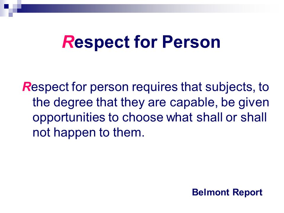 Respect for Person