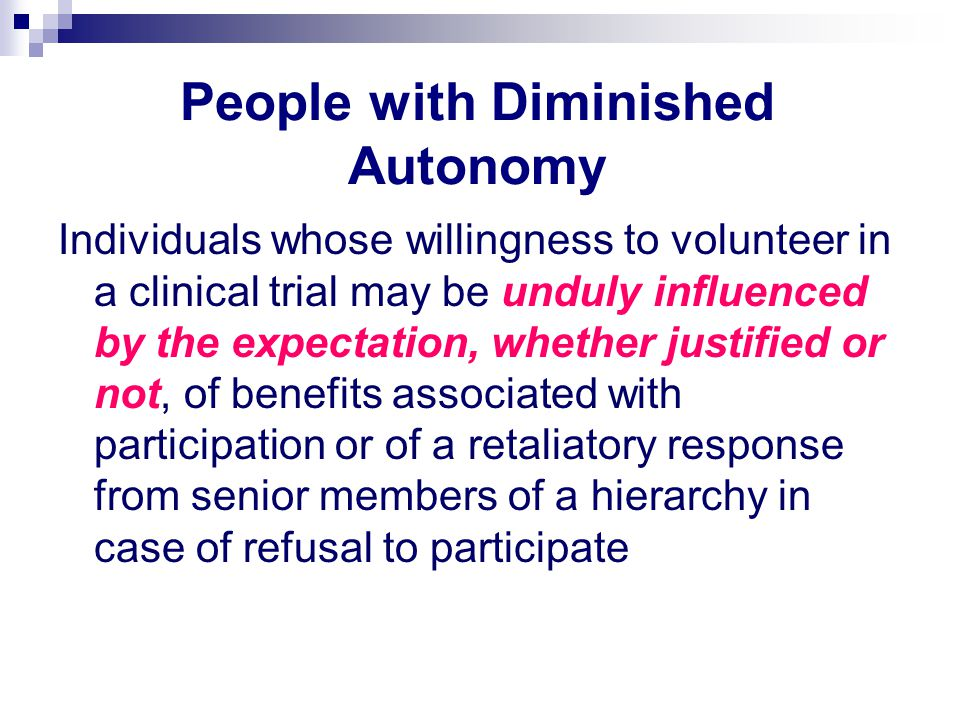 People with Diminished Autonomy