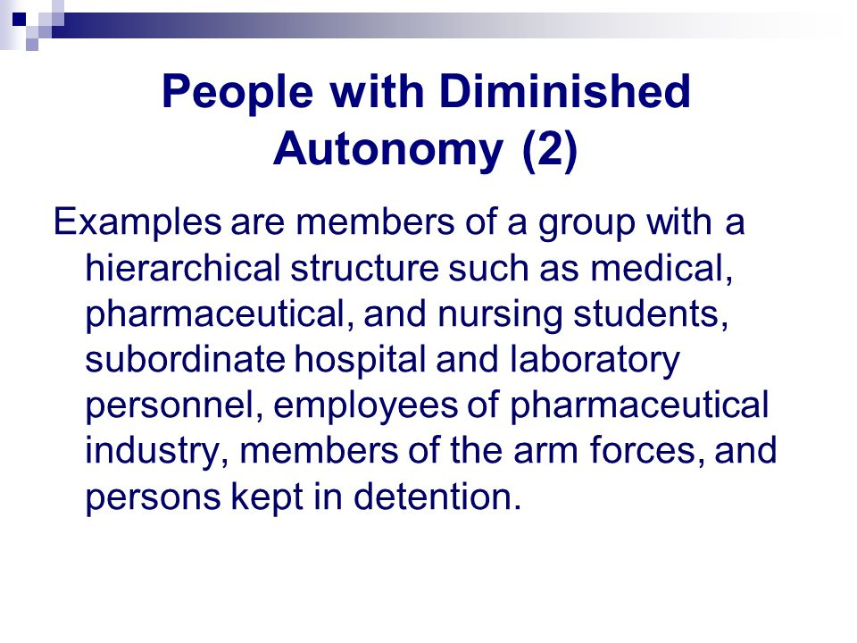 People with Diminished Autonomy (2)