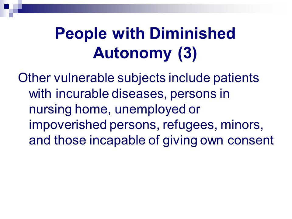 People with Diminished Autonomy (3)