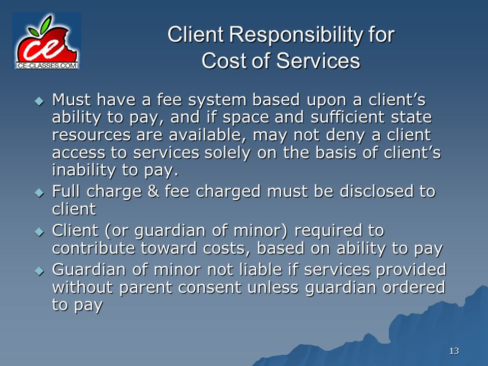 Client Responsibility for Cost of Services
