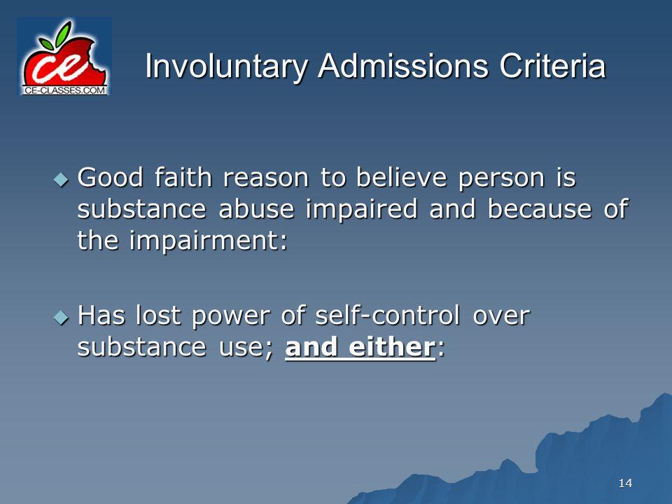 Involuntary Admissions Criteria