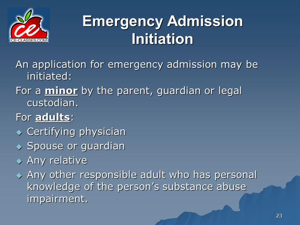 Emergency Admission Initiation