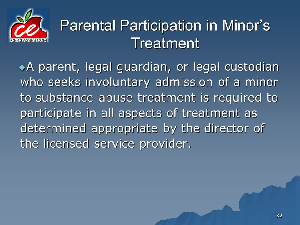 Parental Participation in Minor's Treatment
