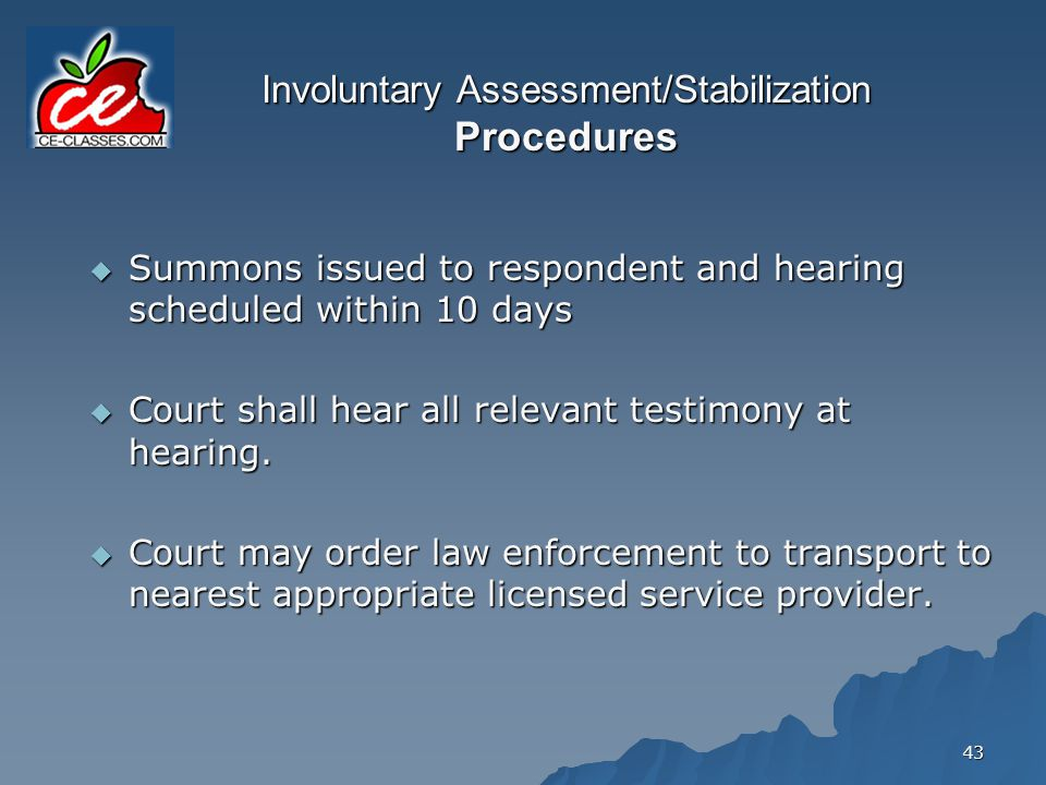 Involuntary Assessment/Stabilization Procedures
