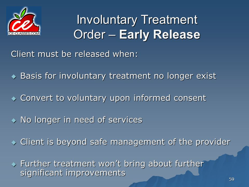 Involuntary Treatment Order – Early Release