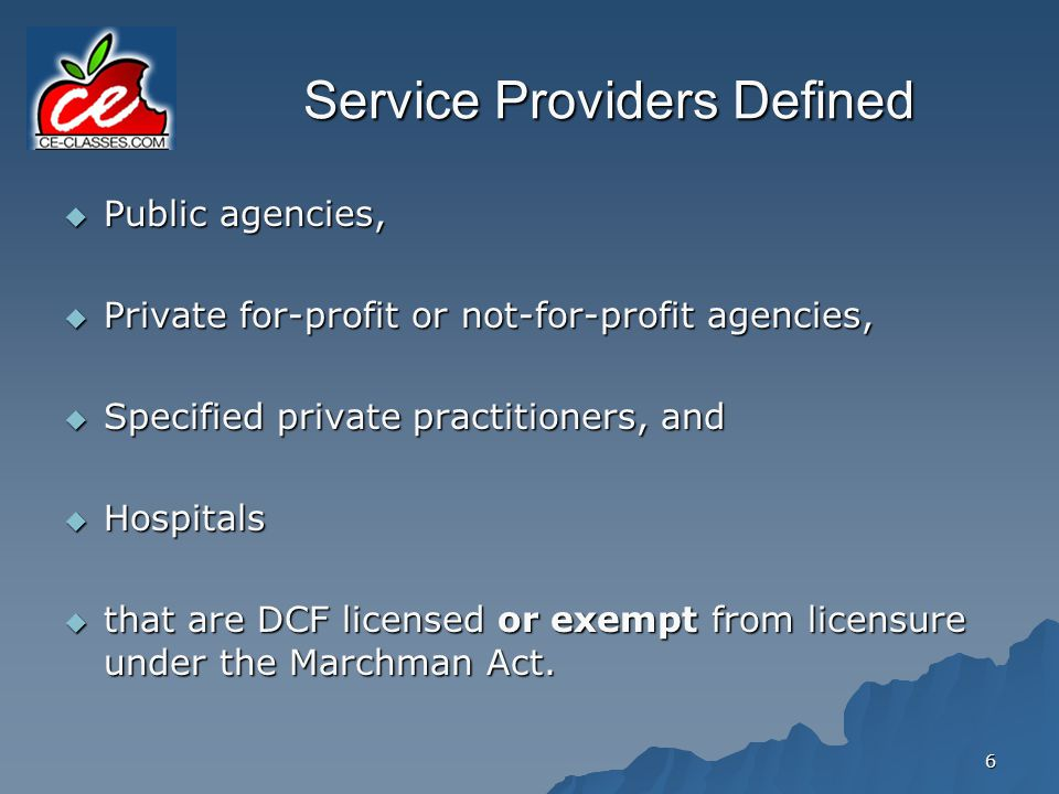 Service Providers Defined
