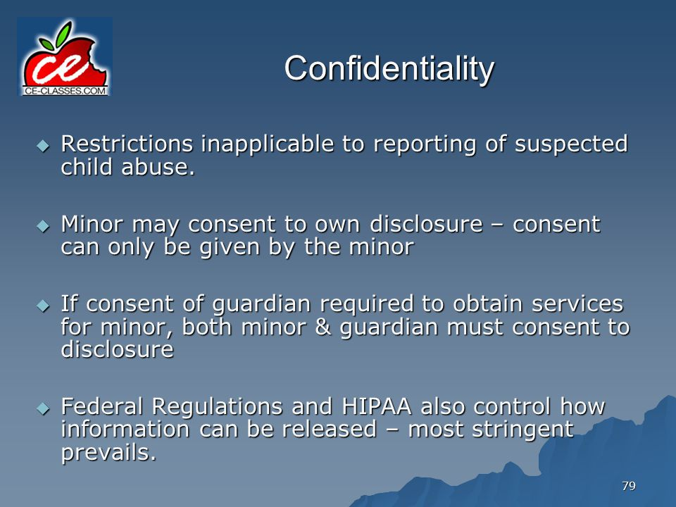 Confidentiality Restrictions inapplicable to reporting of suspected child abuse.
