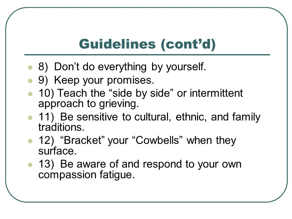 Guidelines (cont'd) 8) Don't do everything by yourself.