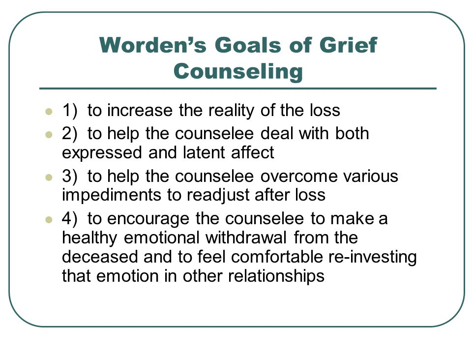 Worden's Goals of Grief Counseling