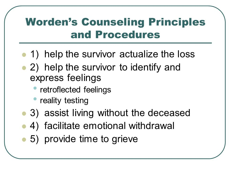 Worden's Counseling Principles and Procedures
