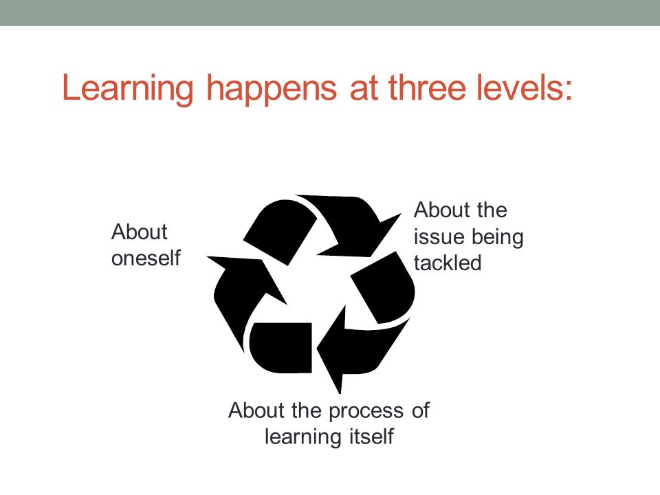 Learning happens at three levels: