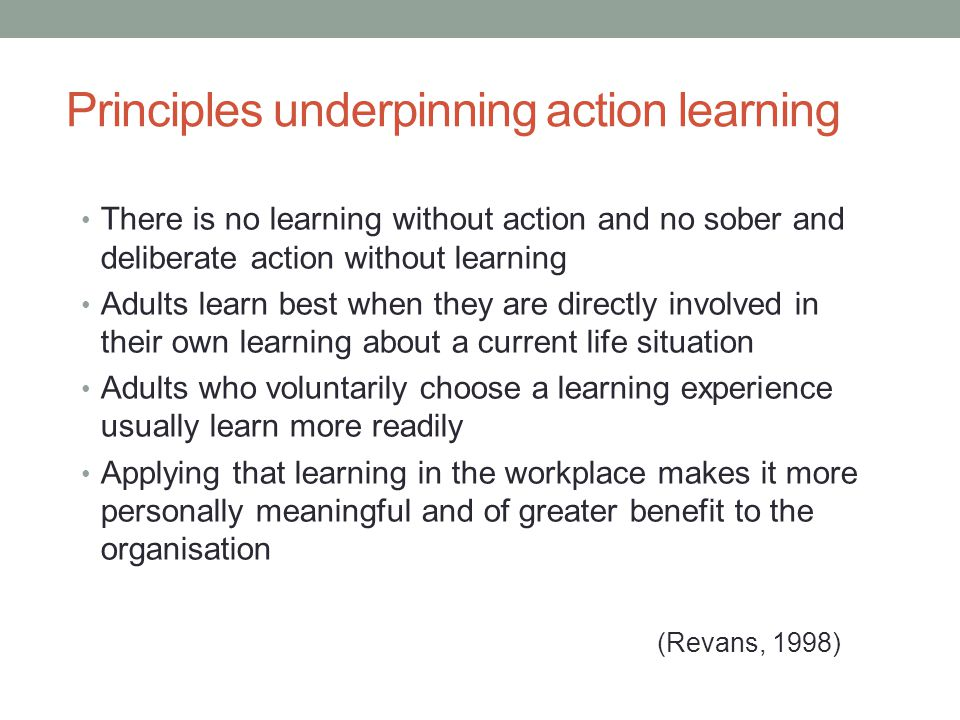 Principles underpinning action learning