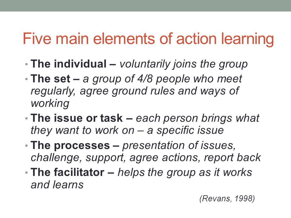 Five main elements of action learning