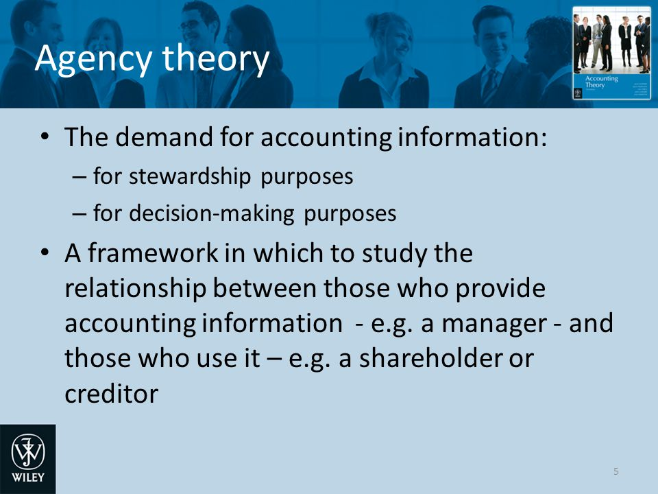 Agency theory The demand for accounting information: