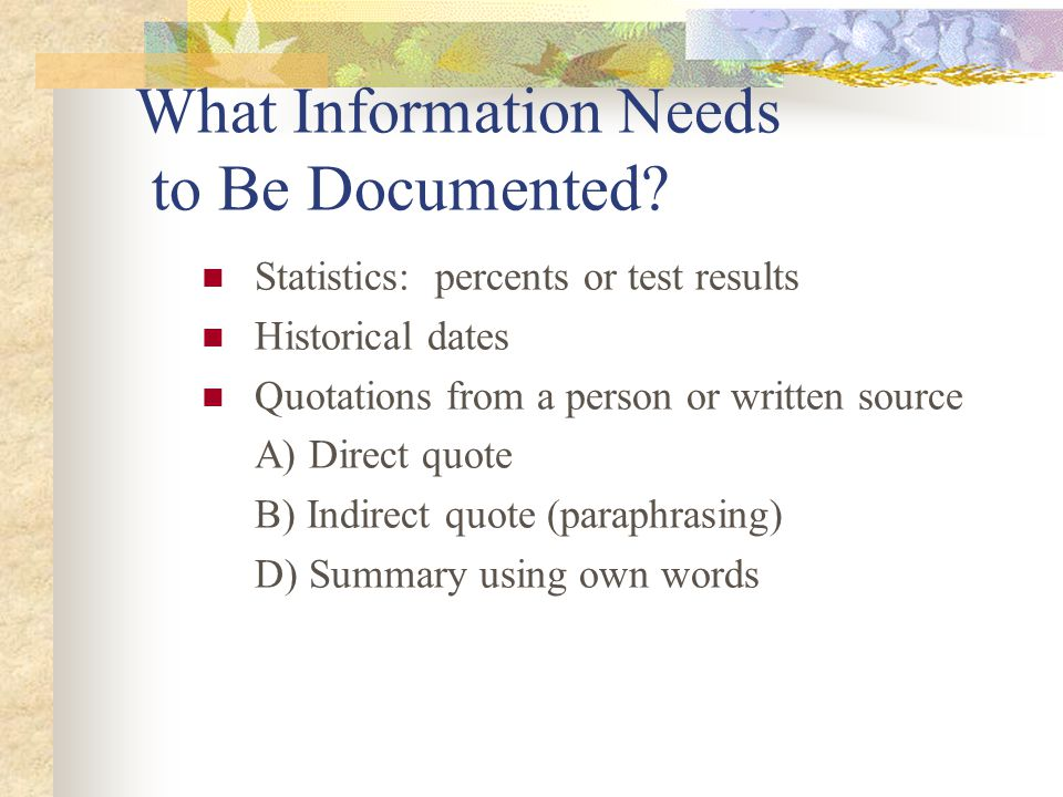 What Information Needs to Be Documented
