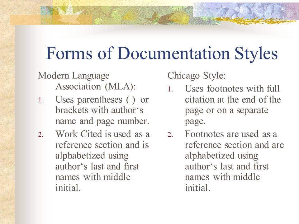 Forms of Documentation Styles