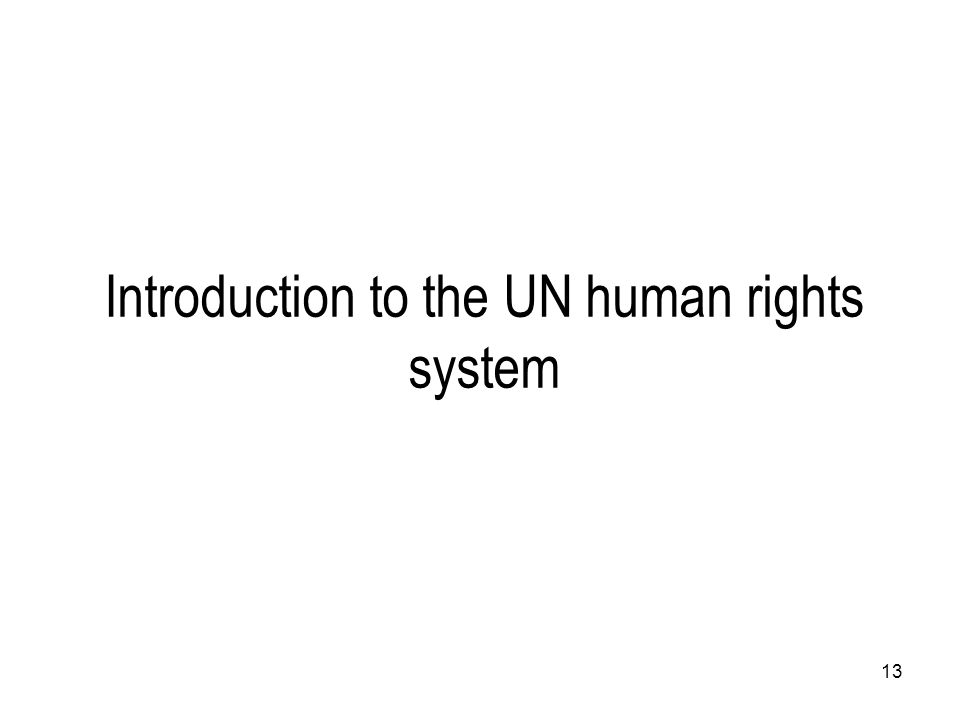 Introduction to the UN human rights system