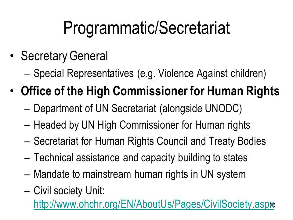 Programmatic/Secretariat