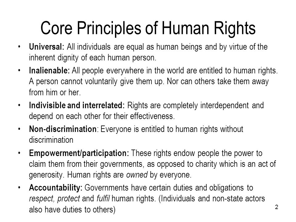 Core Principles of Human Rights
