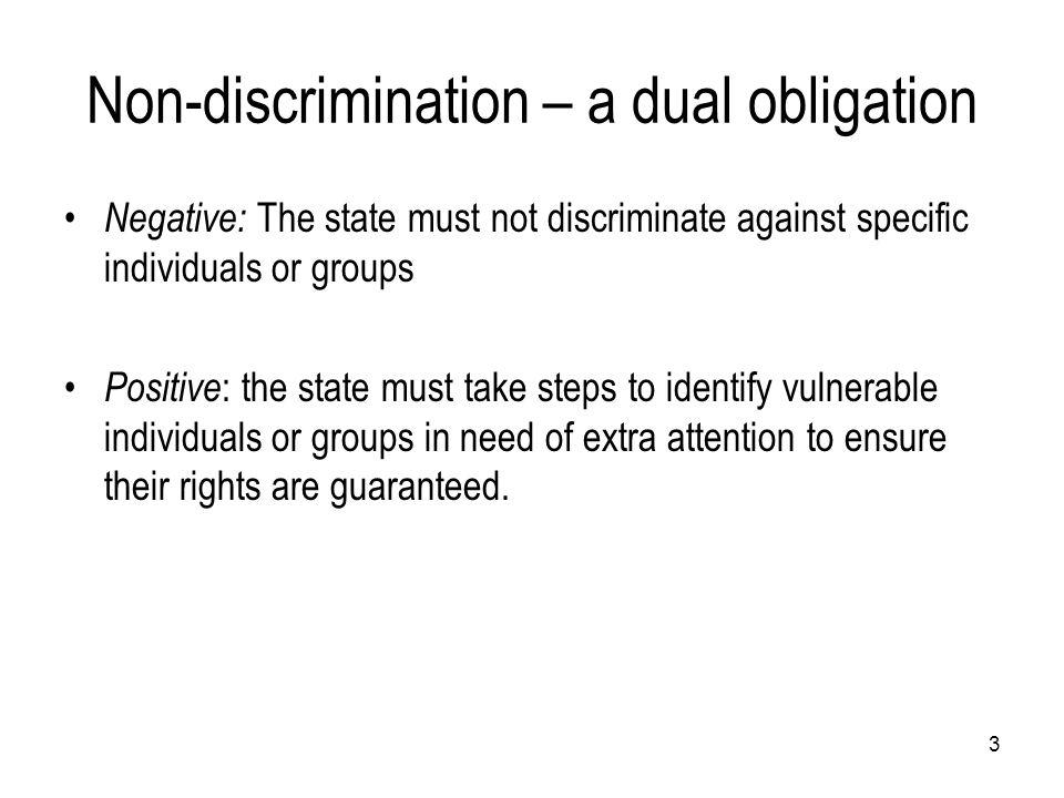 Non-discrimination – a dual obligation